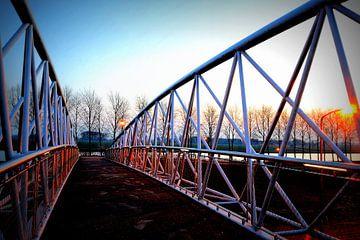 Fietsbrug over de rondweg in Houten Zuid-West. van Margreet van Beusichem