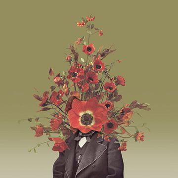Zelfportret met bloemen 4 (oker achtergrond) sur toon joosen