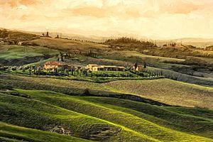 Toscana Italien Abendstimmung gemalt van