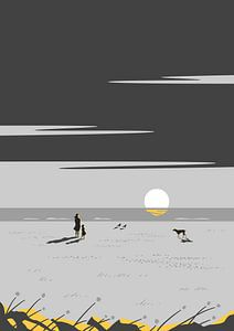 De zonsondergang grijs van Rene Hamann