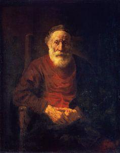 Portret van een oude man in rood, Rembrandt