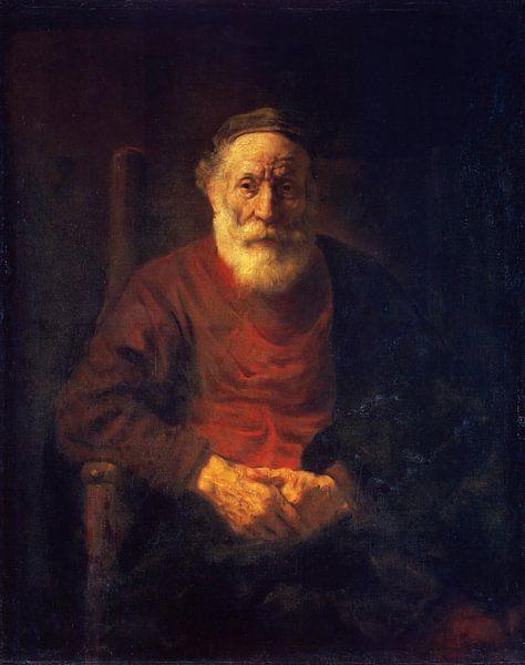 Portret van een oude man in rood, Rembrandt van Meesterlijcke Meesters
