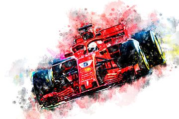 Sebastian Vettel, Ferrari 2018 von Theodor Decker