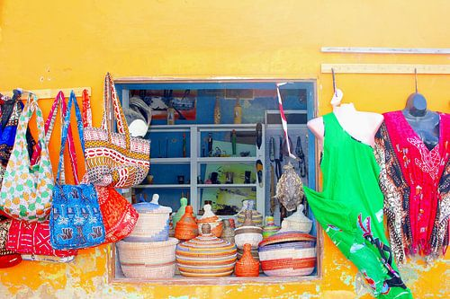 Kleurrijk winkeltje in Afrikaanse sfeer, Kaapverdië van