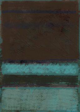 Color field painting, blauwgroen en bruin van Rietje Bulthuis