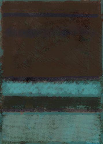 Color field painting, blauwgroen en bruin