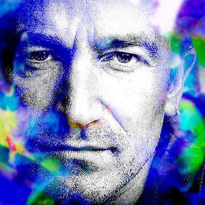 Portrait abstrait moderne Bono de U2 en bleu et violet