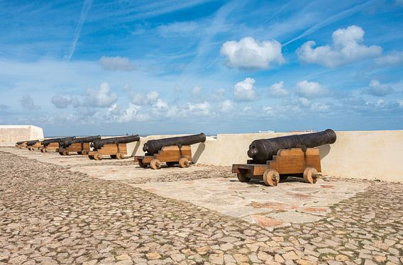 old rusty cannons on walls at Sagres Portugal