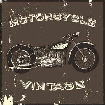 Motorfiets in vintage poster van Atelier Liesjes