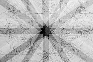 Schwarz und weiß abstraktes Bild von Muster auf Textil von Lisette Rijkers