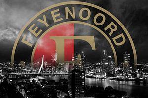 Feyenoord logo en de skyline van Rotterdam (goud variant)