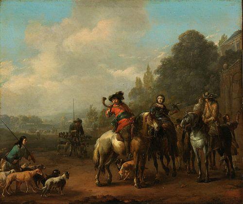 De terugkomst van de jacht, Johannes Lingelbach van Meesterlijcke Meesters