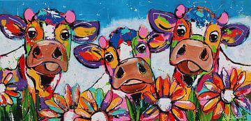 Trio mit Blumen von Vrolijk Schilderij