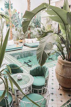 Tropische Pflanzen in einem marokkanischen Riad in Marrakech von Henrike Schenk
