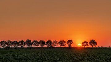 Zonsondergang op Tholen, Nederland van Adelheid Smitt