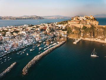 Blick über den Hafen und die Burg der italienischen Insel Procida von Michiel Dros
