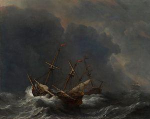 Drei Schiffe im Sturm, Willem van de Velde