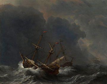 Drie schepen in een storm, Willem van de Velde