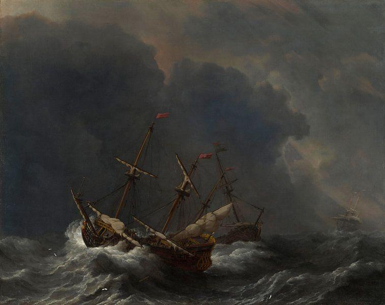 Drei Schiffe im Sturm, Willem van de Velde von Meesterlijcke Meesters