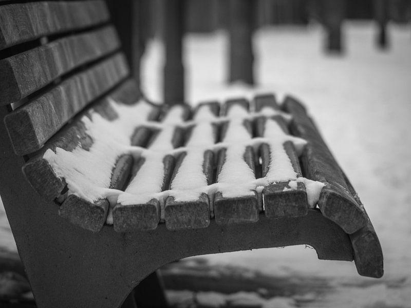 Schnee auf einer Bank von Martijn Tilroe