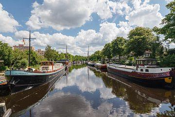 Het Reitdiep in Groningen, Nederland sur