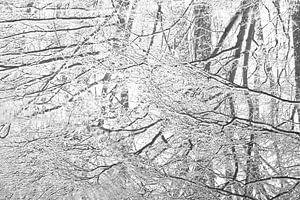 Sneeuw weerspiegeling in plas van