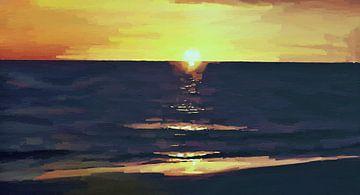 Zonsondergang - Kust -Stand - Horizon - Zonsopkomst - Abstract Schilderij