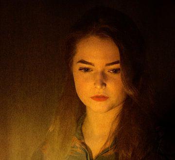 Portret meisje bij kaarslicht van Marijke van Loon