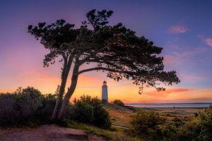 Morgenrot am Leuchtturm Dornbusch auf Hiddensee