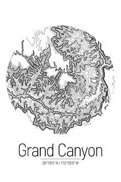 Grand Canyon | Landkarte Topografie (Minimal) von ViaMapia