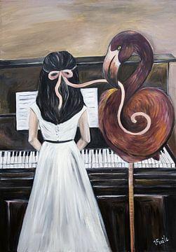 """Mädchen und Flamengo/""""Magische Welt der Musik"""" von Veronika Fraile Art"""