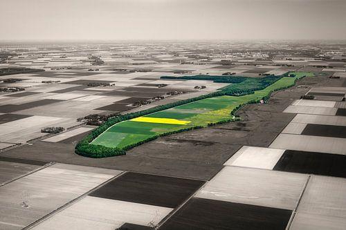Luchtfoto van het voormalige eiland Schokland van Frans Lemmens