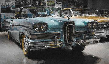 Vintage auto in het blauw van Digitale Schilderijen