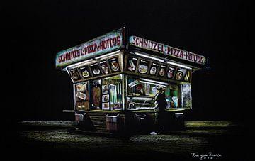 Schnitzel, pizza, hotdog van Ton van Buuren