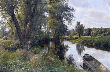 Sommer in einer Landschaft mit einem Fluss, PEDER MONSTED, 1911 von Atelier Liesjes