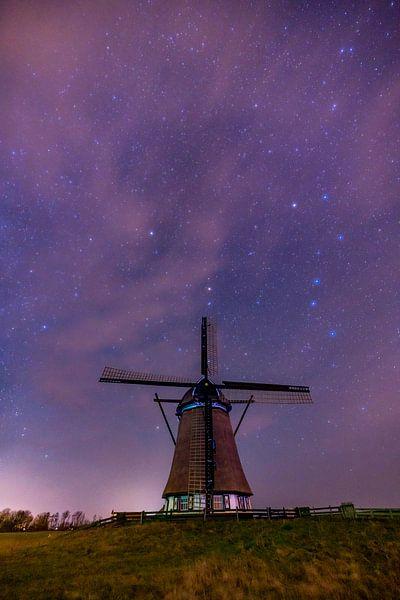 Molen het Noorden bij nacht Texel van Texel360Fotografie Richard Heerschap