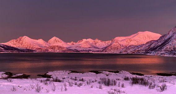 Alpenglow op Sommarøya, Noorwegen