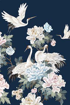 Perlweiß Cranes II, Eva Watts  von PI Creative Art
