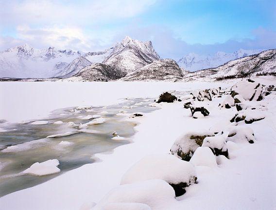 Winterlandschap met bevroren meer en bergen aan de horizon, Lofoten, Noorwegen