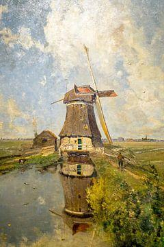 """Eine Windmühle im Polder bekannt als """"Im Monat Juli"""" von Paul Gabriel, um 1889, ho von Nisangha Masselink"""