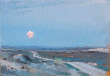 Landschaft von Stenbjerg mit Mond, Peder Severin Krøyer