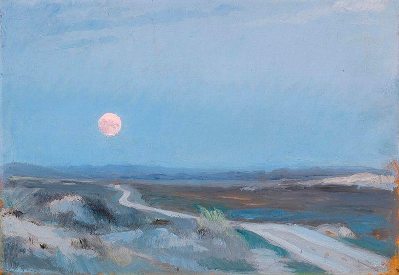 Landschaft von Stenbjerg mit Mond, Peder Severin Krøyer von Meesterlijcke Meesters