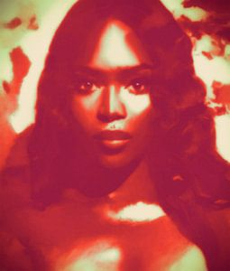 Naomi Campbell Colourful Red Pop Art PUR