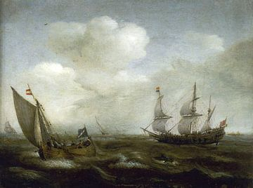 Ein holländisches Schiff und ein Kaag bei frischer Brise, Hendrick Cornelisz Vroom