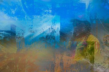 Abstract portret van Peruaans meisje in geel en blauw van Rietje Bulthuis