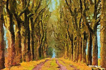 Peinture d'une rangée d'arbres à Visdonk (Roosendaal, Brabant) sur