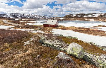 Rood huisje in Noorwegen van Marcel Kerdijk