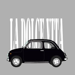 Zwarte Fiat 500 op grijs