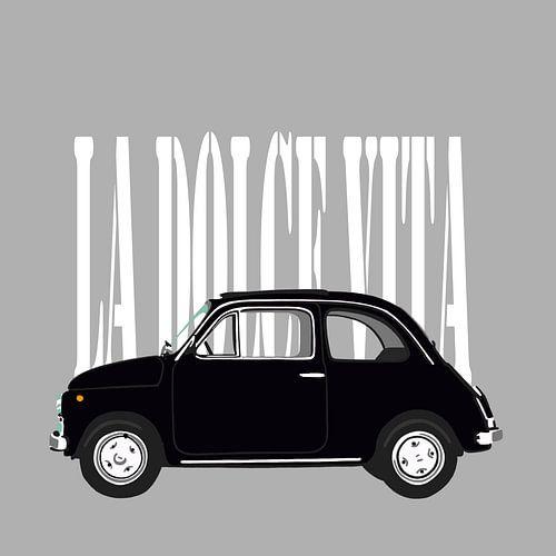 Zwarte Fiat 500 op grijs van