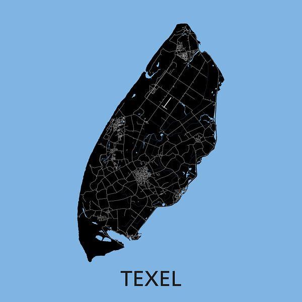 Texel Landkaart | Blauw | Wandcirkel van Wereldkaarten.Shop